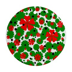 Red and green Christmas design  Ornament (Round)