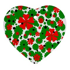 Red and green Christmas design  Ornament (Heart)
