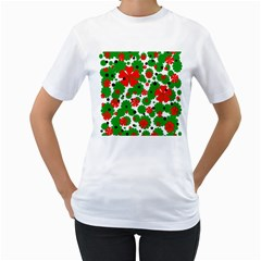 Red and green Christmas design  Women s T-Shirt (White) (Two Sided)