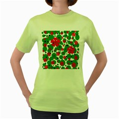 Red and green Christmas design  Women s Green T-Shirt
