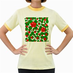 Red and green Christmas design  Women s Fitted Ringer T-Shirts