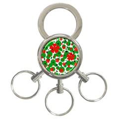 Red and green Christmas design  3-Ring Key Chains