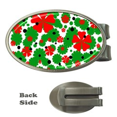 Red and green Christmas design  Money Clips (Oval)