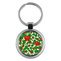 Red and green Christmas design  Key Chains (Round)