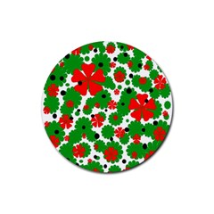 Red and green Christmas design  Rubber Coaster (Round)
