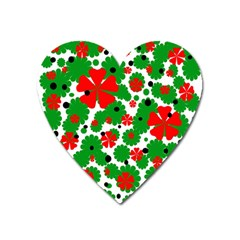 Red And Green Christmas Design  Heart Magnet