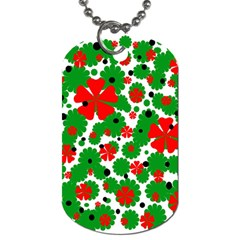Red and green Christmas design  Dog Tag (One Side)