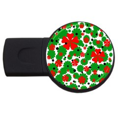 Red and green Christmas design  USB Flash Drive Round (1 GB)