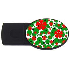 Red and green Christmas design  USB Flash Drive Oval (1 GB)