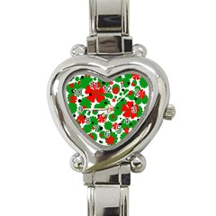 Red and green Christmas design  Heart Italian Charm Watch