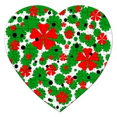 Red and green Christmas design  Jigsaw Puzzle (Heart)