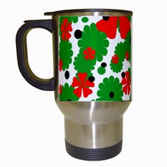 Red and green Christmas design  Travel Mugs (White)