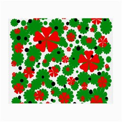 Red and green Christmas design  Small Glasses Cloth