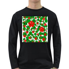 Red and green Christmas design  Long Sleeve Dark T-Shirts