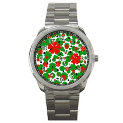 Red and green Christmas design  Sport Metal Watch