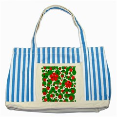 Red and green Christmas design  Striped Blue Tote Bag