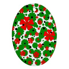Red and green Christmas design  Oval Ornament (Two Sides)