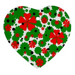 Red and green Christmas design  Heart Ornament (2 Sides)