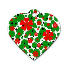 Red and green Christmas design  Dog Tag Heart (Two Sides)