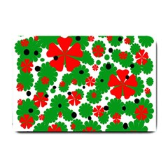 Red and green Christmas design  Small Doormat