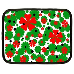 Red and green Christmas design  Netbook Case (XXL)