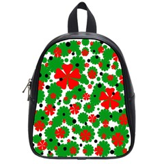 Red and green Christmas design  School Bags (Small)
