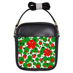 Red and green Christmas design  Girls Sling Bags