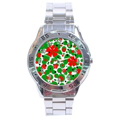 Red and green Christmas design  Stainless Steel Analogue Watch