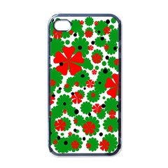 Red and green Christmas design  Apple iPhone 4 Case (Black)