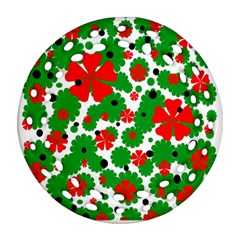 Red and green Christmas design  Round Filigree Ornament (2Side)