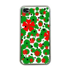 Red and green Christmas design  Apple iPhone 4 Case (Clear)