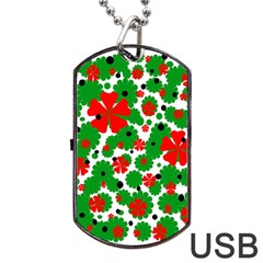 Red and green Christmas design  Dog Tag USB Flash (One Side)
