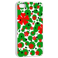 Red and green Christmas design  Apple iPhone 4/4s Seamless Case (White)