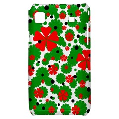 Red and green Christmas design  Samsung Galaxy S i9000 Hardshell Case