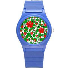 Red and green Christmas design  Round Plastic Sport Watch (S)