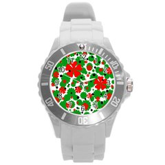 Red and green Christmas design  Round Plastic Sport Watch (L)