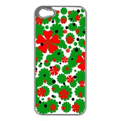 Red and green Christmas design  Apple iPhone 5 Case (Silver)
