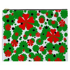 Red and green Christmas design  Cosmetic Bag (XXXL)