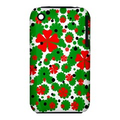 Red and green Christmas design  Apple iPhone 3G/3GS Hardshell Case (PC+Silicone)
