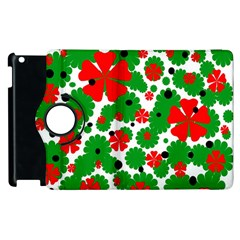 Red and green Christmas design  Apple iPad 2 Flip 360 Case