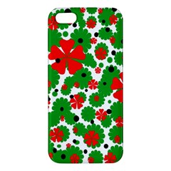 Red and green Christmas design  Apple iPhone 5 Premium Hardshell Case