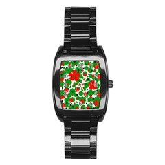Red and green Christmas design  Stainless Steel Barrel Watch