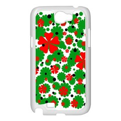 Red and green Christmas design  Samsung Galaxy Note 2 Case (White)