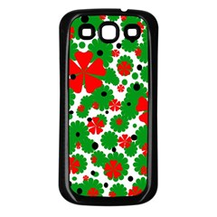 Red and green Christmas design  Samsung Galaxy S3 Back Case (Black)