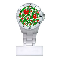 Red and green Christmas design  Plastic Nurses Watch