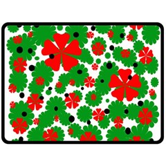 Red and green Christmas design  Double Sided Fleece Blanket (Large)