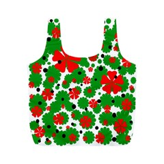 Red and green Christmas design  Full Print Recycle Bags (M)