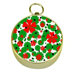 Red and green Christmas design  Gold Compasses