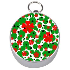 Red and green Christmas design  Silver Compasses