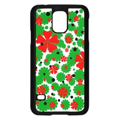 Red and green Christmas design  Samsung Galaxy S5 Case (Black)